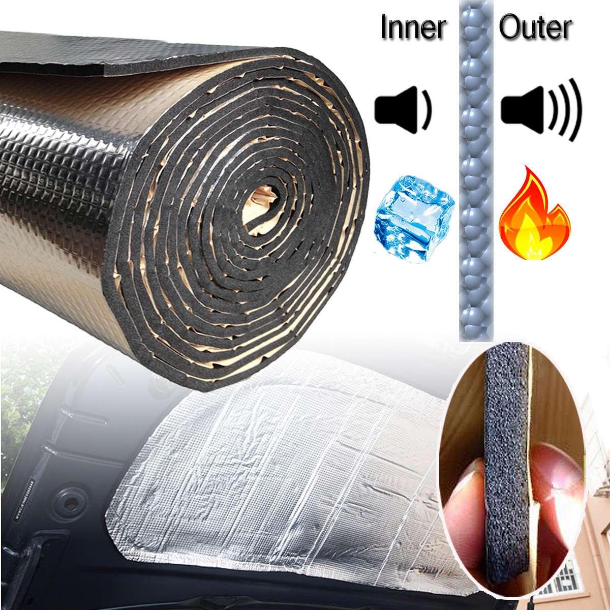 15 pies cuadrados de sonido de coche Deadener Mat ruido bonnet aislamiento Deadening para capó del motor Firewall de Material de aluminio de la etiqueta engomada de la espuma