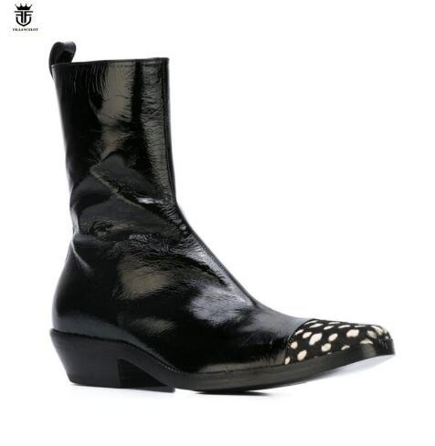 3203cc2acc8 LANCELOT Solid Black Genuine Leather Crystal Pointed Toe Side Zipper Men  Chelsea Boots