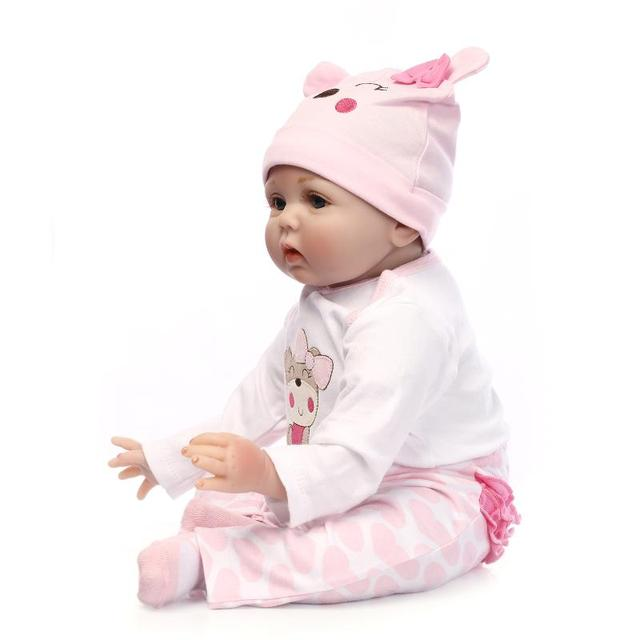 NPKCOLLECTION Hair Rooted Realistic Reborn Baby Dolls Soft Silicone 22″ /55cm Lifelike Newborn Doll Girl XMAS Gift