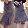 Saia outono inverno mulheres vintage preto cinza de cintura alta lápis saia de renda saias bodycon do joelho-comprimento da saia sjyy077