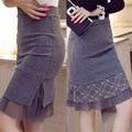 Winter Autumn Skirt Women Vintage Black Gray High waist Pencil Skirt Lace Bodycon Skirts Knee-length Skirt SJYY077