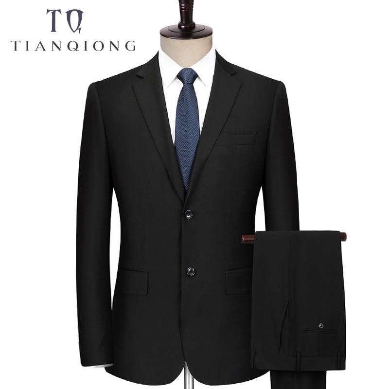 TIAN QIONG Custom Made noir Hommes Costume Sur Mesure Costume Fait Sur Mesure Hommes Costume De Mariage ensemble Slim Fit Marié Smokings Pour hommes (Veste + Pantalon)