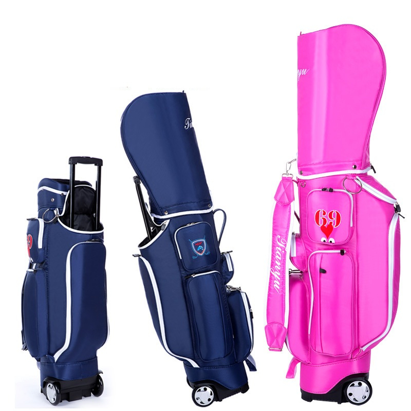 2020 Retractable Standard Ball Golf Bag With Wheel Big Capacity Travelling Aviation Bag With Cover Hard Nylon D0638