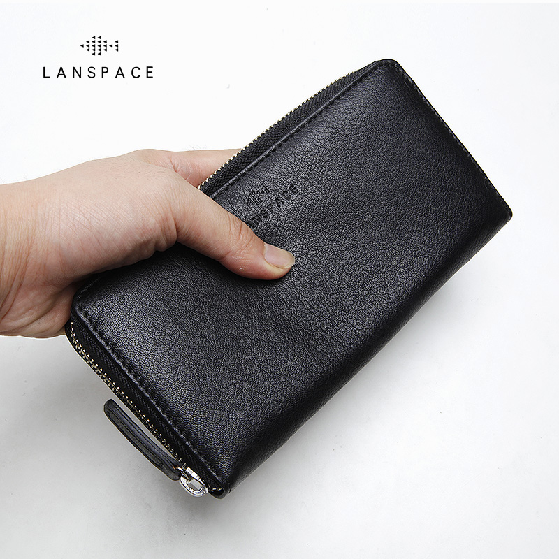 LANSPACE genuine leather purse famous brand coin purses holders fashion men  wallets 0c4374ad75
