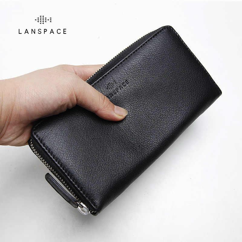 6024ac98c944 LANSPACE натуральная кожа кошелек известные бренды кошельки для монет  держатели модные мужские кошельки