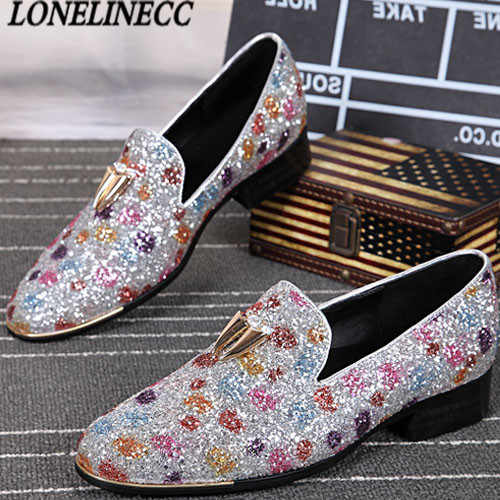 4059317ecb9 2017 Luxury Men Loafers Stone Studded Shoes Bling Bling Loafer Shoes Mens  Smoking Slippers Leisure Flats Red Bottom Dress Shoes
