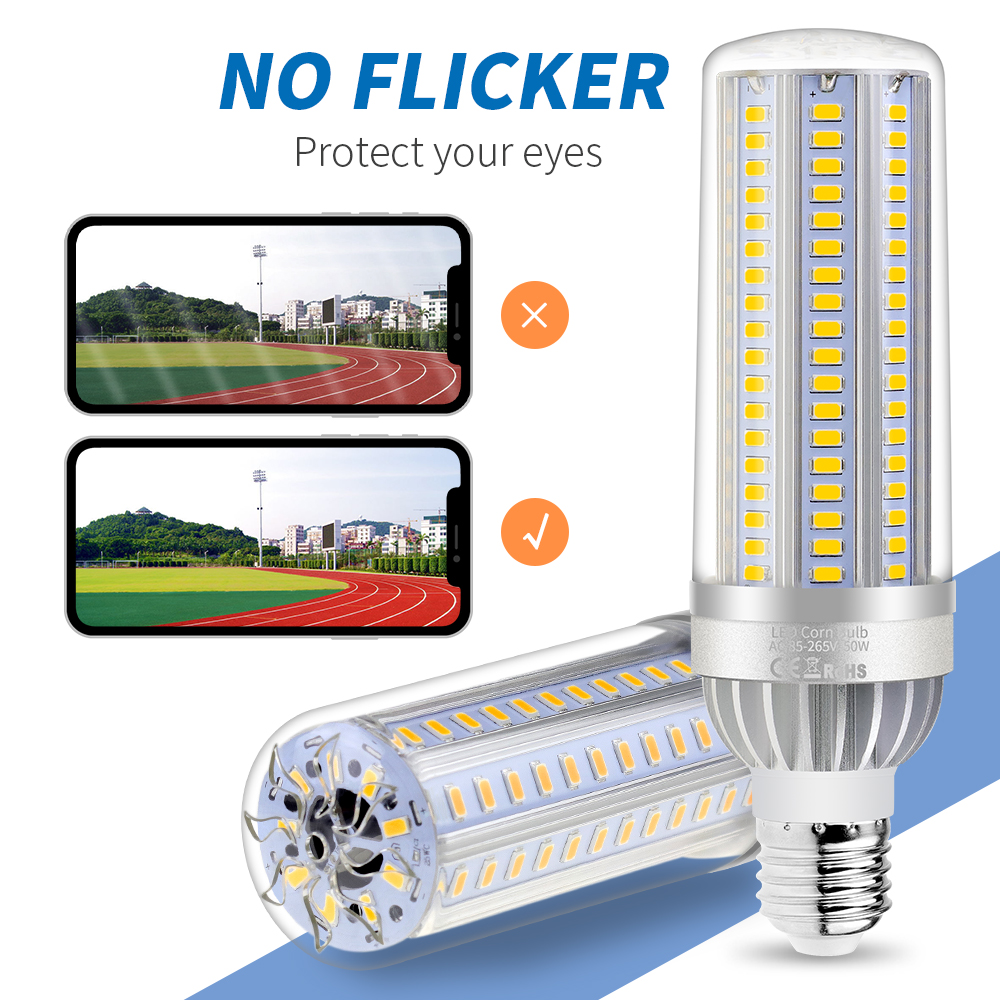 Power LED Corn Lamp Bulb E27 220V 25W 35W 50W LED Light Bulb E26 Aluminum Fan Cooling Smart IC No Flicker Power LED Bombillas