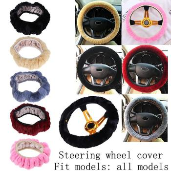 Car Accessory Soft Elastic Winter Warm Plush Car Steering Wheel Cover Car-styling Cover for 36/38/40cm Auto steering-wheel image
