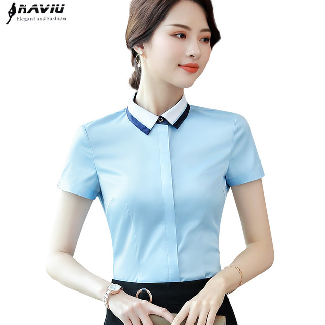 85f6377756d US $13.19 32% OFF|2019 New Business women shirt summer fashion formal  Patchwork short sleeve slim blouses office ladies work plus size tops-in  Blouses ...
