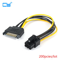 200PCS 15pin to 6pin SATA Power Cable PCI EXPRESS PCI E Sata Graphics Converter Adapter Cable Cord Video Card Reverse Power Line