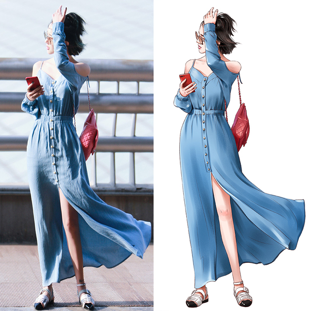 6dfd53263d34 purebliss denim maxi dress off shoulder beach dress-in Dresses from ...