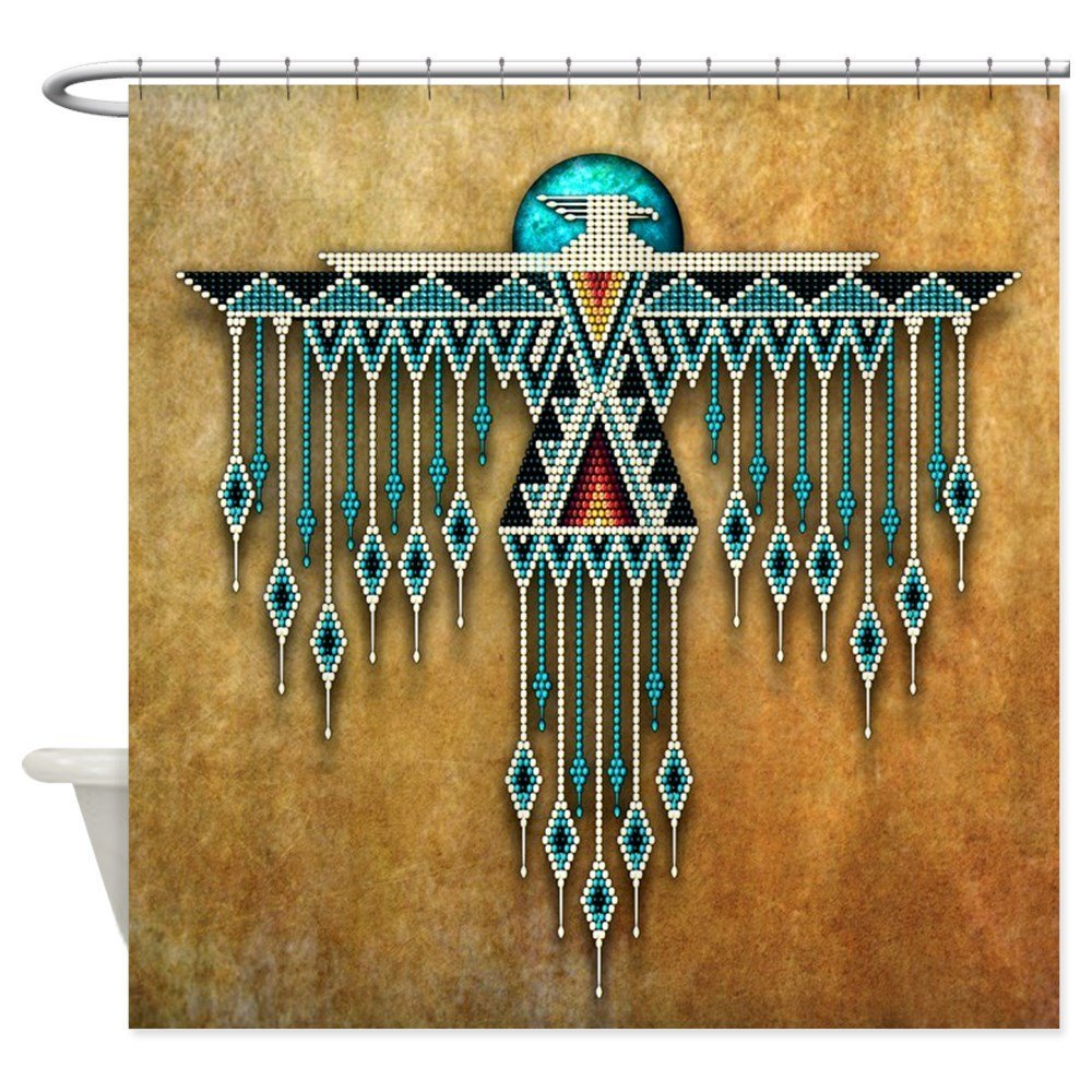 Southwest Native Style Thunderbird Decorative Fabric Shower Curtain Bath Products Bathroom Decor with Hooks Waterproof
