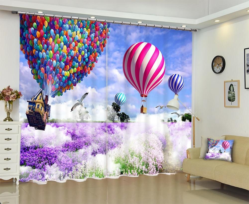 สีม่วงลาเวนเดอร์ hot air บอลลูน Luxury 3D Blackout ผ้าม่านม่านหน้าต่างสำหรับห้องนั่งเล่นห้องนอนโรงแรม Wall Tapestry Cortinas-ใน ผ้าม่าน จาก บ้านและสวน บน   1