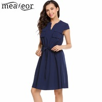 Meaneor Pockets Drawstring Loose Pleated Dress Women Cap Sleeve Solid Vintage Style Dresses 2017 New Casual
