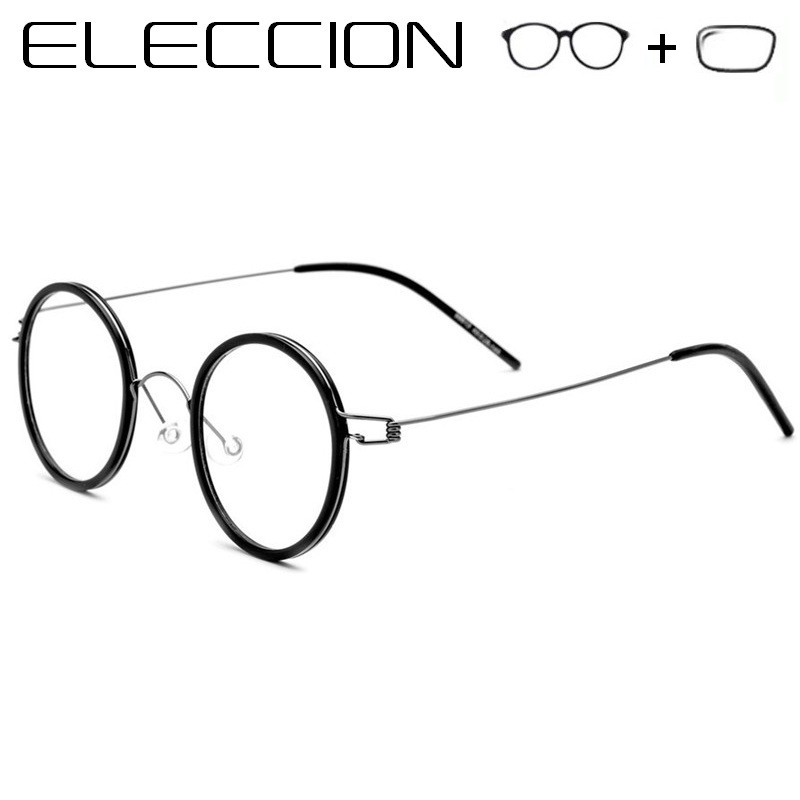 ELECCION Pure Titanium Round Optical Frames Prescription Glasses Men Woman Myopia Eyeglasses 2019 Vintage Male Screwless