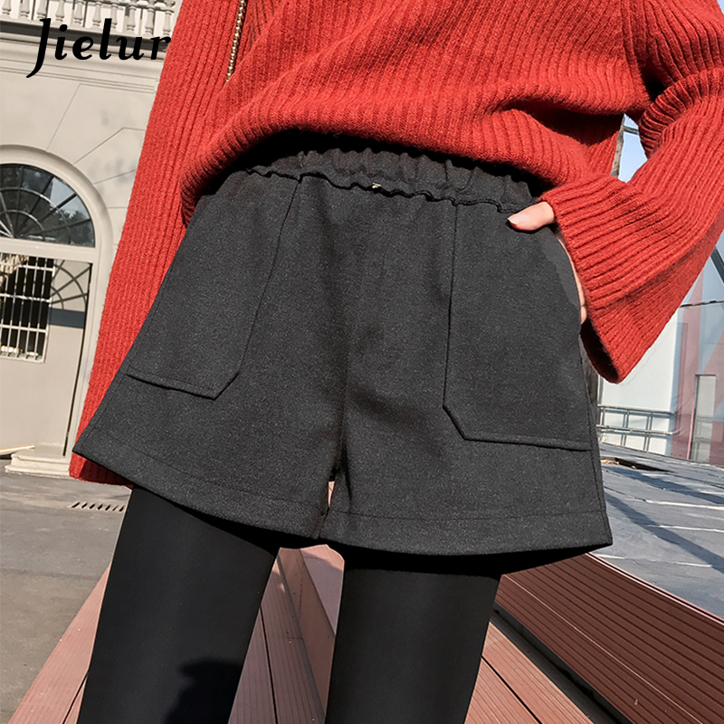 Jielur Woolen Shorts Feminino High-Waist Winter Korean Women New Wide Black Harajuku