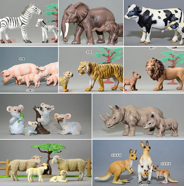 Solid pvc figure wild farm animal model rhinoceros kangaroo zebra tiger pig sheep set 6pcs simulated farm animal horse sheep