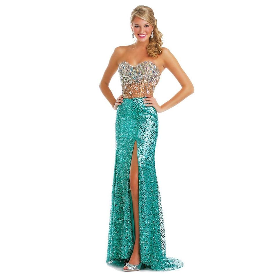 2015 Long Glitter Crystal Evening Dress Sweetheart Long -5224