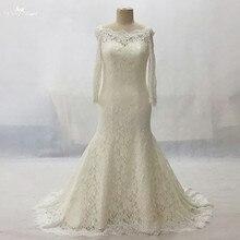 LZ161 Alibaba Vestido De Noiva Plus Size Boat Neck Long Sleeve Wedding Gown  Champagne Lace Dress d4cbe76874e7