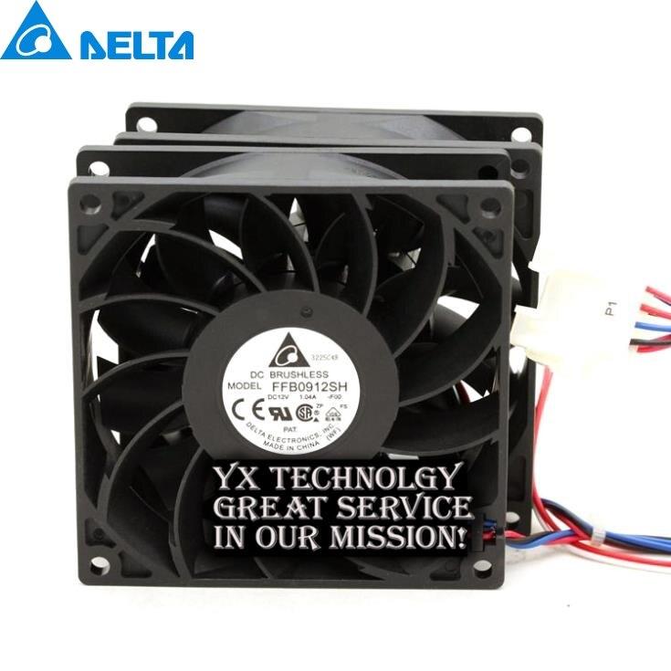 Delta 92*92*25mm FFB0912SH with original connector dual motor  and LED  9025 12V 1.04A 5pcs/lot
