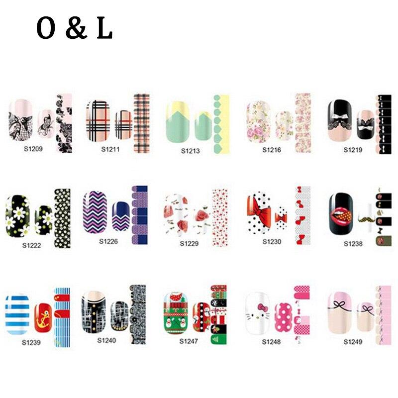 Hot Full Cover font b Nail b font Patch Stickers 56Designs 1pcs Mix Designs font b