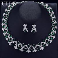 UILZ Luxury Big Flower Bridal Wedding Jewelry Sets CZ Zirconia Crystal Necklace Earrings Set For Women Dinner Dress Gift US296