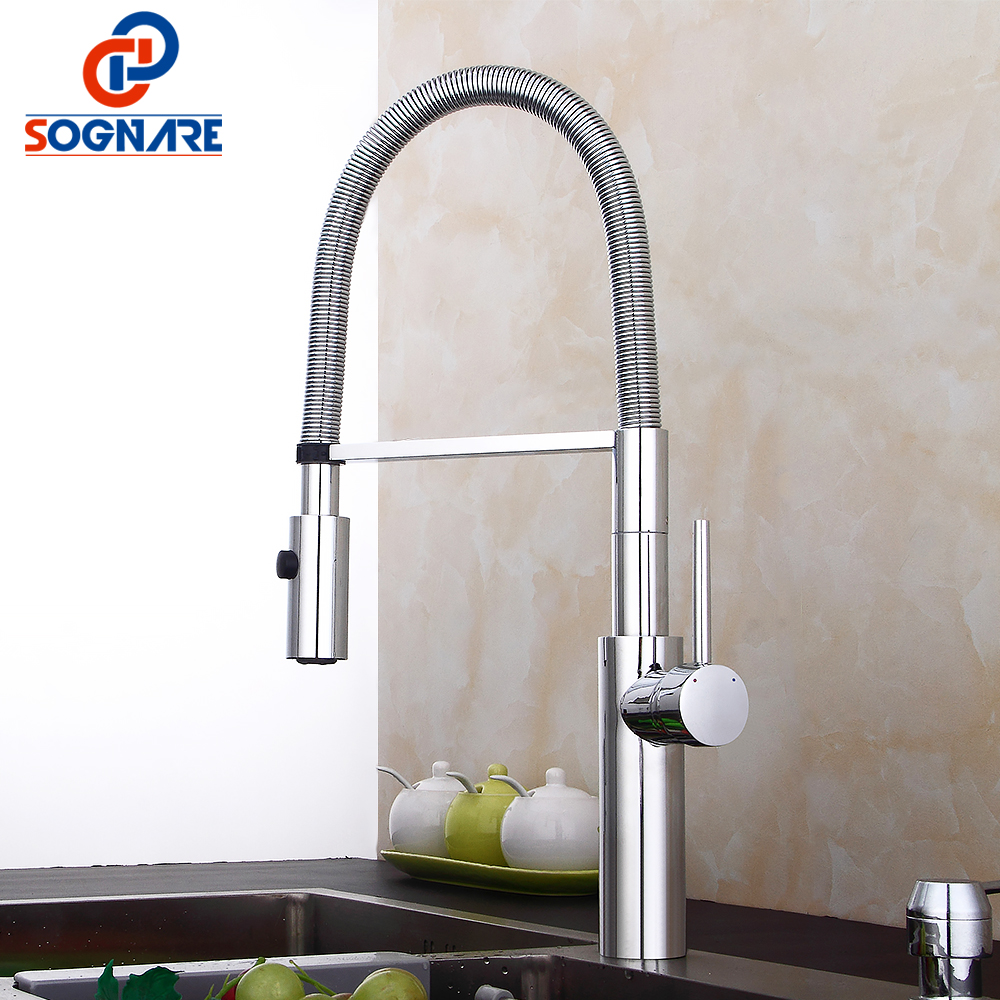 SOGNARE Solid Brass Pull Out Kitchen Faucet 360 Swivel Mixer Sink Tap Dual Sprayer Nozzle Hot and Cold Torneira Cozinha D2316C luxury solid brass kitchen faucet dual spouts vessel sink mixer tap w 8 plate