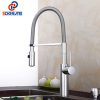 SOGNARE Solid Brass Pull Out Kitchen Faucet 360 Swivel Mixer Sink Tap Dual Sprayer Nozzle Hot