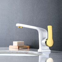 High Quality Basin Faucet Brass Unique Design Bathroom Faucet Luxury Single Lever Gold And White Sink