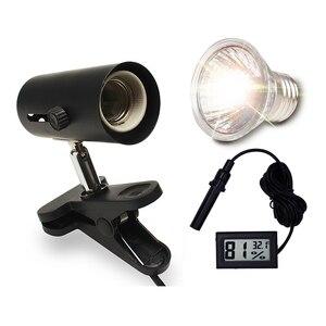 Image 2 - UVA+UVB 3.0 Reptile Lamp Kit with Clip on Ceramic Light Holder Digital Thermometer Hygrometer Turtle Tortoises Basking UV Lamp