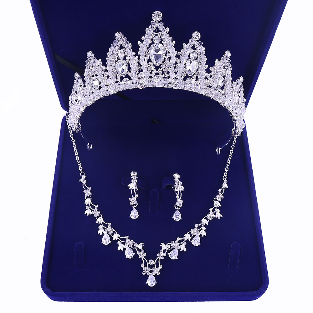 Sliver Plated Rhinestone Crystal Faux Pearl Necklace+Earring Jewelry Set For Bride Bridal Wedding (6)