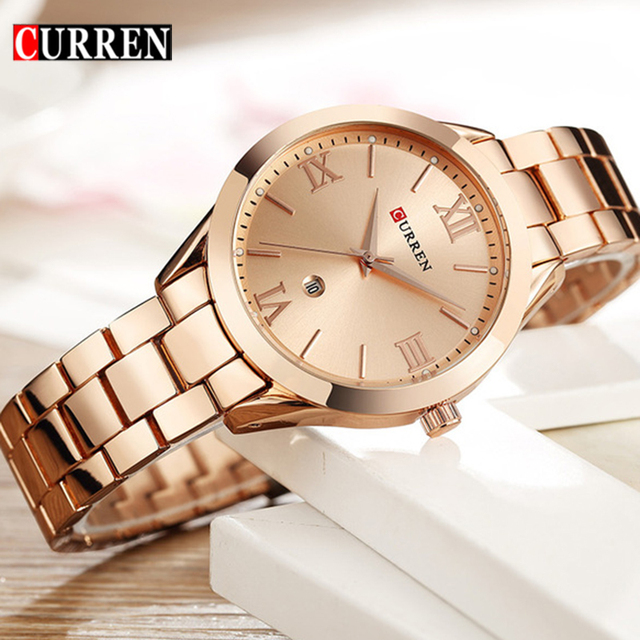 CURREN Gold Watch Women Watches Ladies Creative Steel Women's Bracelet Watches F