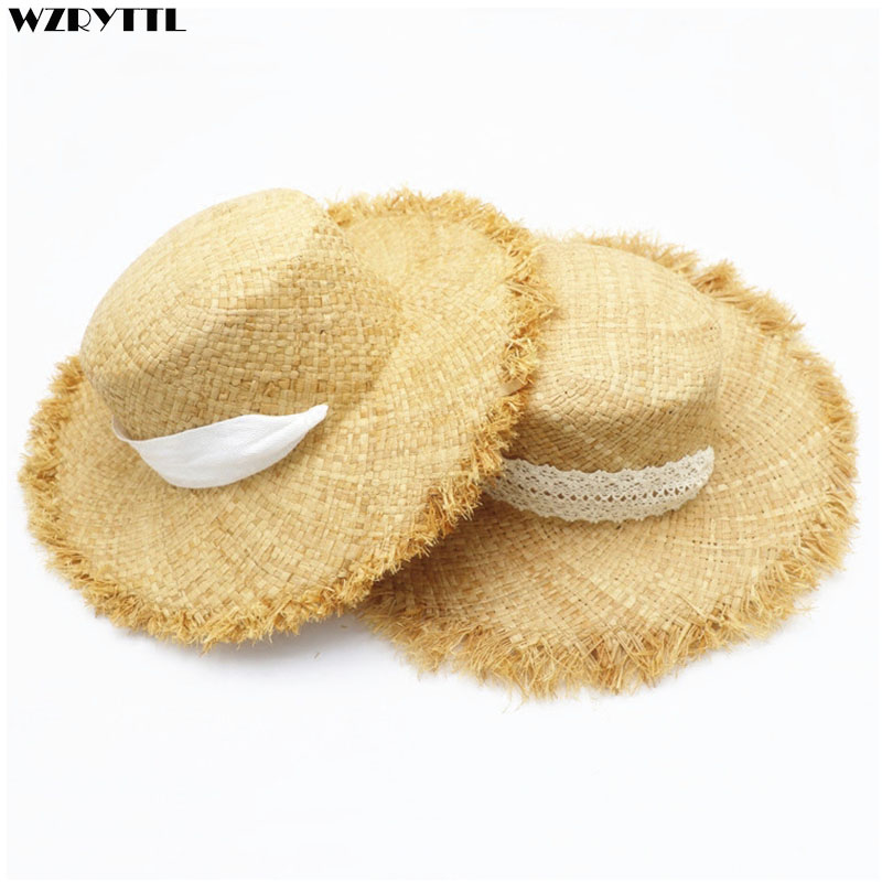 2019 New Girls UV Sun Hat Large Kids Wide Brim Summer Beach Hats Natural Flat Top Ribbon Rope Tie Travel Hat Kentucky Derby Cap