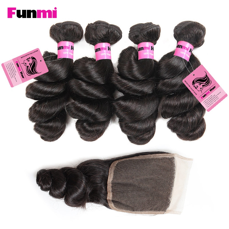 Funmi 4PCS Peruvian Loose Wave Bundles With Closure 100% Human Hair Bundles With Closure Peruvian Virgin Hair For Hair Salon