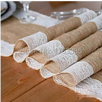 12x108 Hessian Burlap Lace Table Runner Natural Jute Tablecloth Wedding Festival Party Decoration White Both Side