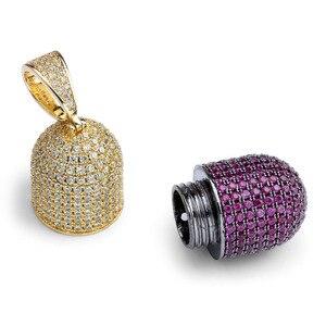 Image 3 - JINAO الهيب هوب مجوهرات الأزياء حبة قلادة يمكن فتح كبسولات قلادة مكعب الزركون النحاس قلادة مثلج خارج انفصال للجنسين