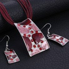 Vintage Necklace Earring Sets Multi Ropes Leather Silver Geometry Pendant Necklace Drop Earrings Wedding Bridal Jewelry Set