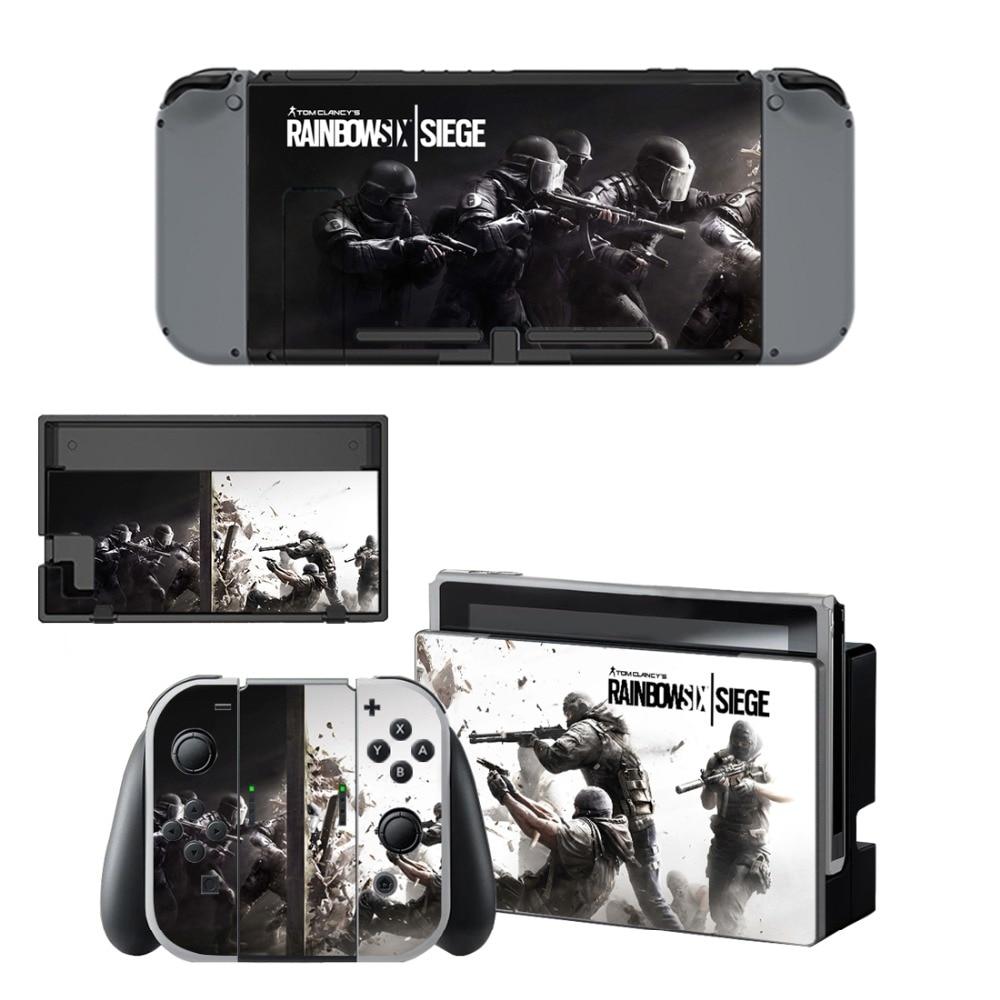 Купить с кэшбэком Rainbow Six Siege Decal Vinyl Skin Sticker for Nintendo Switch NS Console+Controller+Stand Holder Protective Film