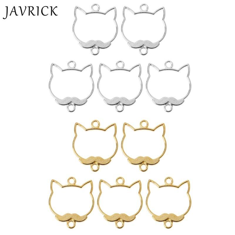 5Pcs Cute Beard Cat Blank Resin Frame Pendant Open Bezel Setting Jewelry Making