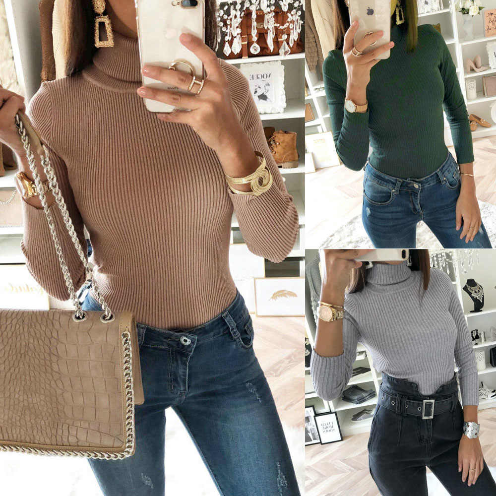 LASPERAL Sexy Dünne Rollkragen Dünne Herbst Frauen Pullover Club Party Bodycon Stricken Pullover Slim Fit Body Mode Pullover