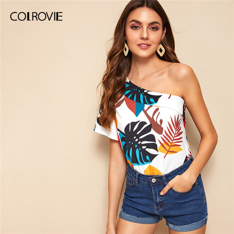 COLROVIE White Tropical Print One Shoulder Boho Blouse Shirt Women Clothing 2019 Summer Holiday Style Vacation Girly Blouses