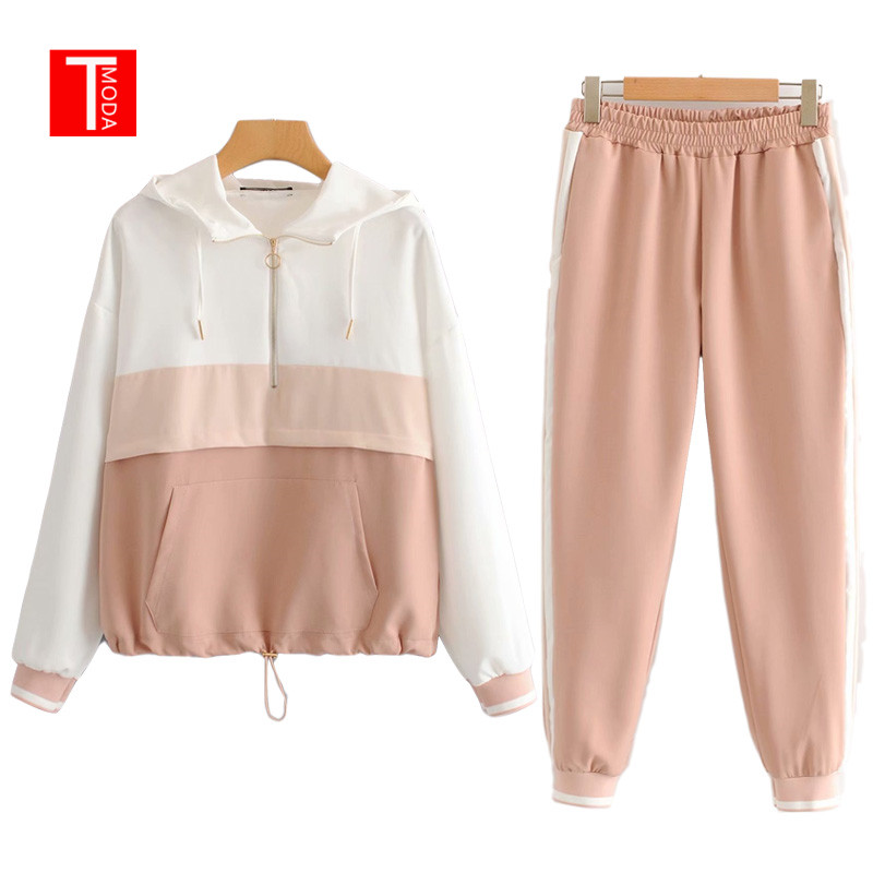 Jacket Women Suits Tops Pullover Jogging-Pants Two-Piece-Sets Baseball-Bomber Contrast-Color title=