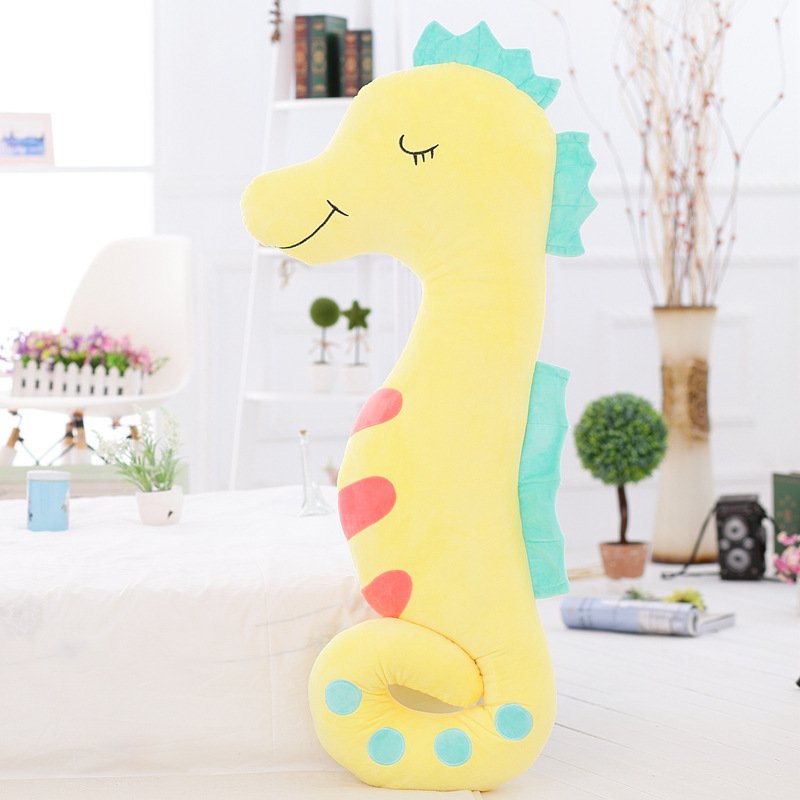 Hot Sale120cm Cartoon Sea Horse Doll Stuffed Soft Plush Large Hippocampus Toy For Girl Friend New Coming For Childrens Day