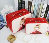 Cosmetic Bag Printing Lovely Girl Pattern High Capacity Portable Wash Bag Cosmetic Bag Mail Box Small