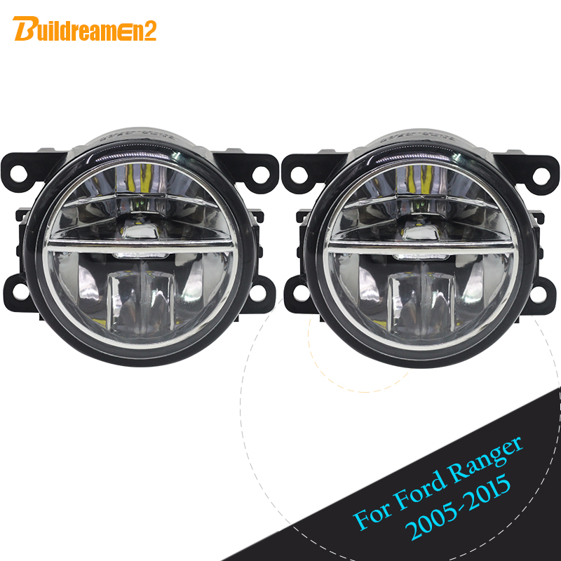 Buildreamen2 Car LED Fog Light Daytime Running Light DRL For Ford Ranger 2005 2006 2007 2008 2009 2010 2011 2012 2013 2014 2015 ecahayaku 1set 12v waterproof daytime running light drl fog lamp with fog hole for ford focus hatchback 2009 2010 2011 2012 2013