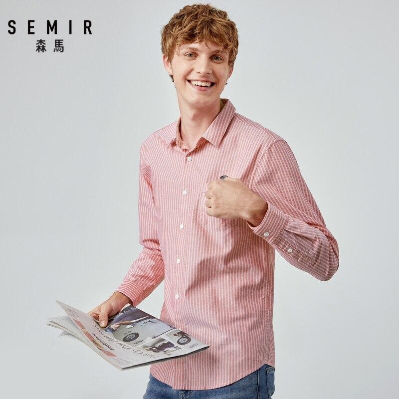 SEMIR 2019 Autumn Shirt Men New Thin Vertical Stripes Casual Shirt Men Chic Inch Long Sleeve Cotton Stripe Shirt Tide Man