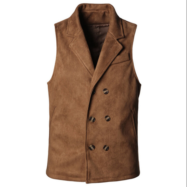 Men Fashion Slim Fit Vest Outwear Male Coat Sleeveless Male Vest Brown Plush Softy Vest Men'S Waistcoats A2626
