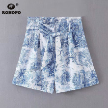 ROHOPO Women Floral Shorts Skirts Tie Belted Wide Leg Office Ladies Sly blue Chic Shorts High Waist Flared Short Bottom #BM2212