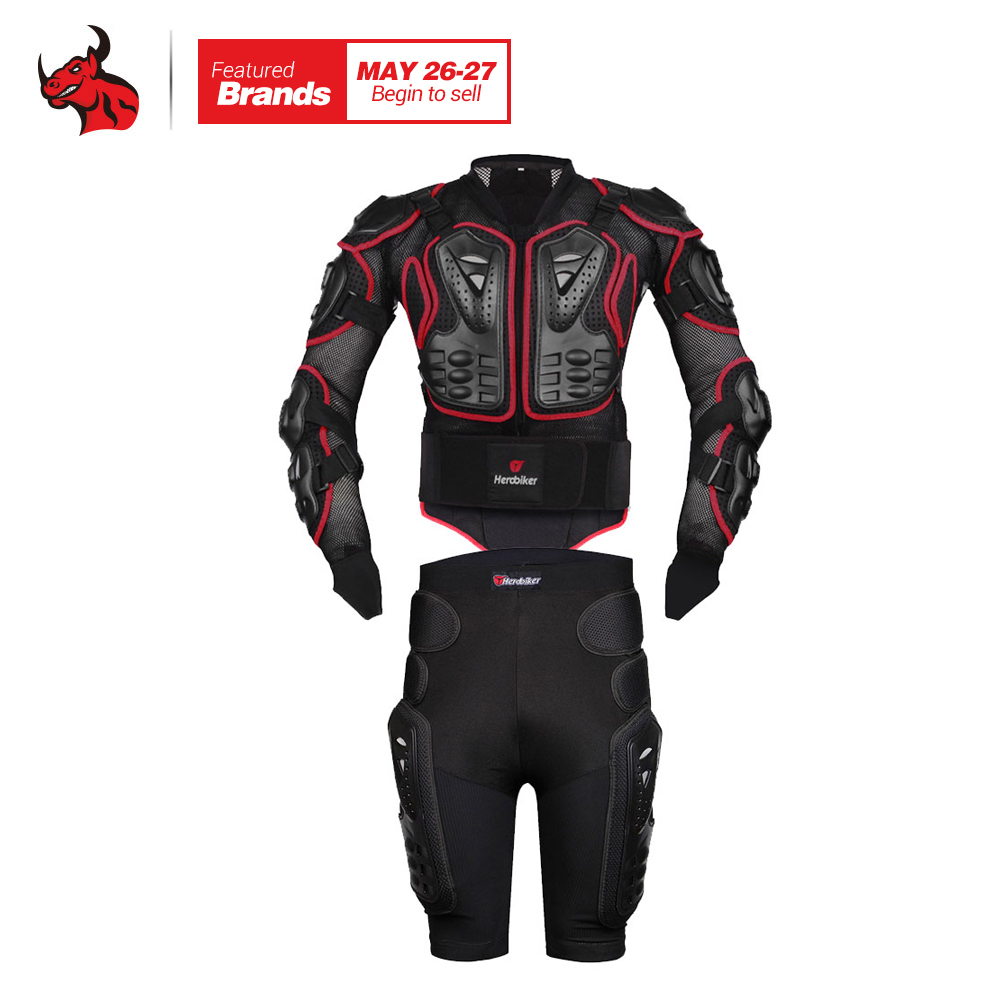 HEROBIKER Moto Motocross Racing Motorcycle Body Armor Protective Jacket+Gears Shorts Pants Motorcycle Jackets Red S-4XL