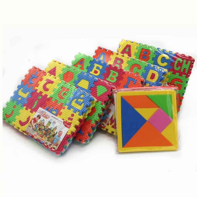 5 Languages Russian English Spanish Arabic Geometry Puzzle EVA Toys For Children Puzzle Language Learning Educational